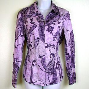 Jones New York signature purple paisley zipper top